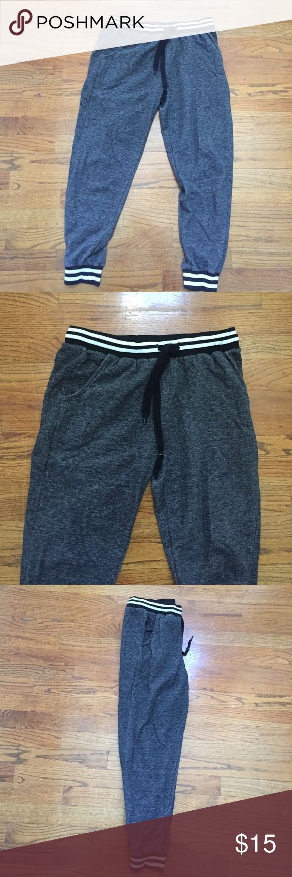 grey joggers grey joggers with black and white striped waist band Rue 21 Pants Track Pants & Joggers