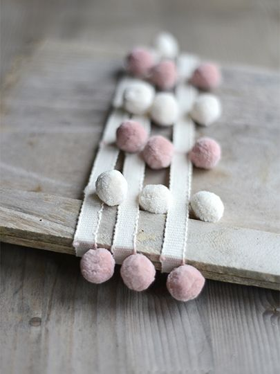 Beautiful Ivory & Powder Pink Pom Poms <3