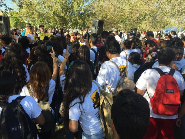 Trevor G. Browne HS students walk out to protest Donald Trump, Joe Arpaio