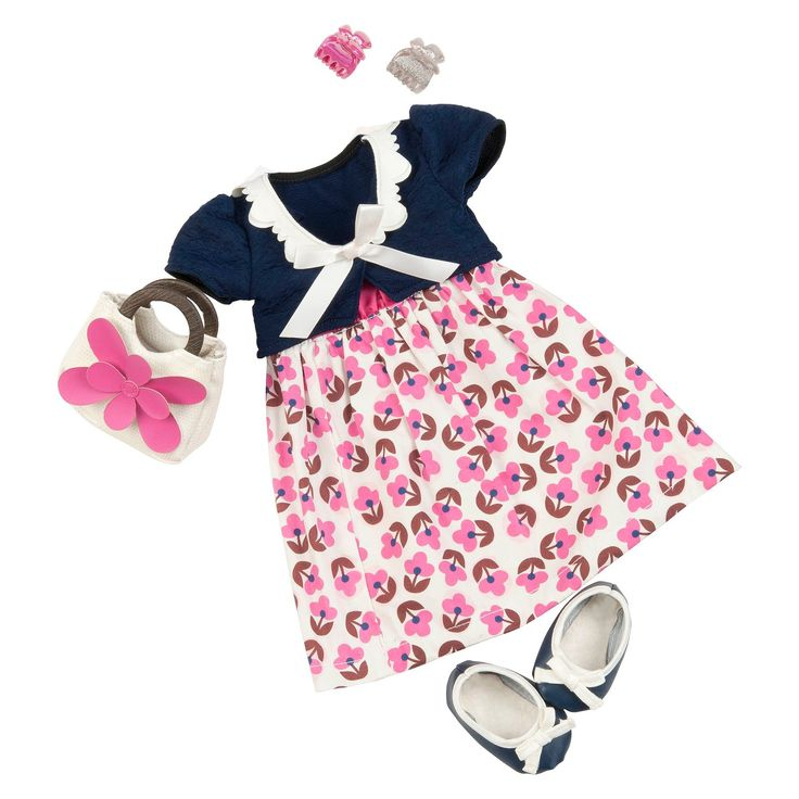 Every doll looks like a lady in this Our Generation Deluxe Outfit - Fleur Ever And Ever. These sweet and sophisticated doll clothes include a floral dress, shrug, handbag and fabric shoes.