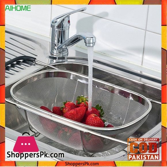 Buy Fruit Vegetable Strainer Colander Retractable Over The Sink At Best Price In Pakistan Washing Basket Colanders Strainers Stainless Steel Kitchen