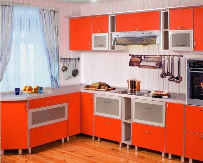 Кухня пластик угловая оранжевая