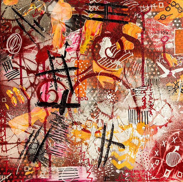 """Daily Painters Abstract Gallery: """"#netneutrality"""" Original Modern Contemporary Mixed Media Political Abstract Painting Art by Lisa McKinney Kreymborg"""