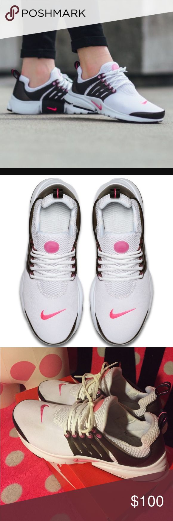 Nike Presto Nike Presto • White / Pink Blast / Black • Youth size 6, Which is also a Women's size 8 • One of my fave styles! I just don't wear them enough • Very Good condition • Worn twice for a brief period of time, right shoe has a very faint spot at the toe area that I tried to photograph - will try and remove before sending ❤️ Comes with original box as shown Nike Shoes