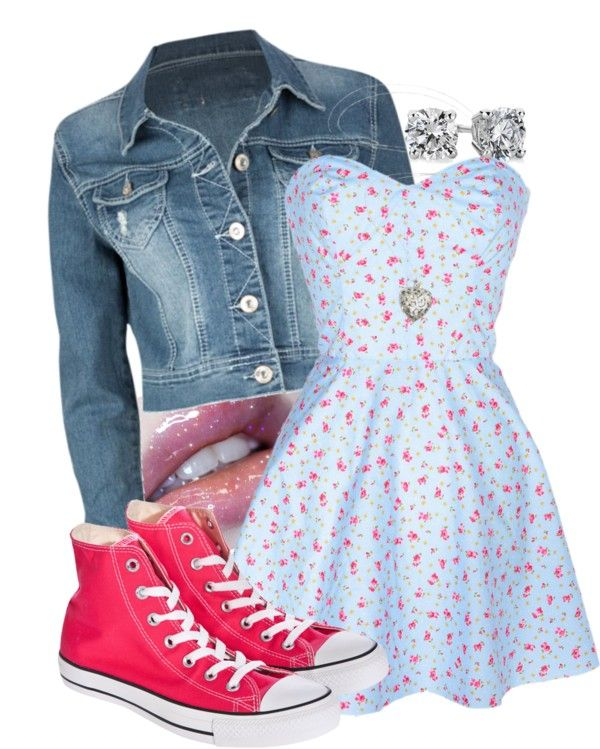 """""""Converse with my dress!"""" by kristymariesing ❤ liked on Polyvore.... In plus size."""
