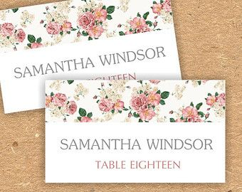 Printable wedding place card template | Vintage roses pattern Oxee, DIY, editable, Word