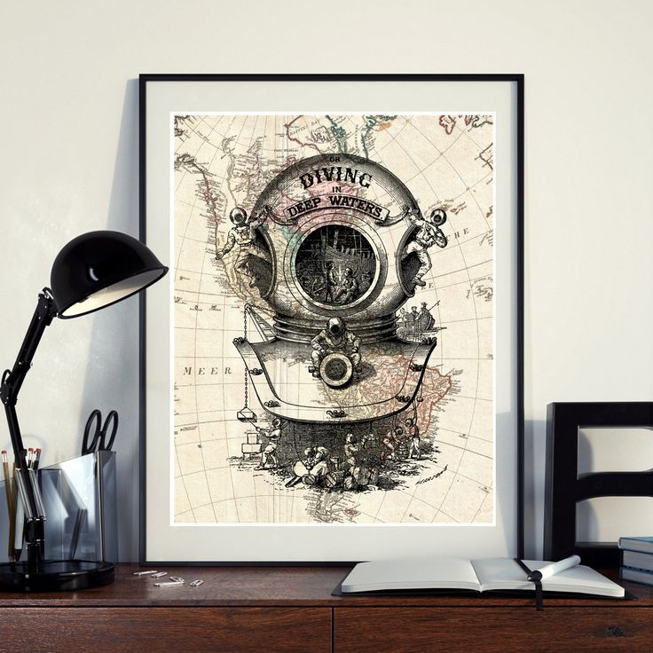 Vintage Map of North America Diving scuba diver Ocean Seaside Nautical Poster Instant Download Printable A4 A3 8×10 & 11x14 Wall HQ300dpi by ZikkiArt on Etsy
