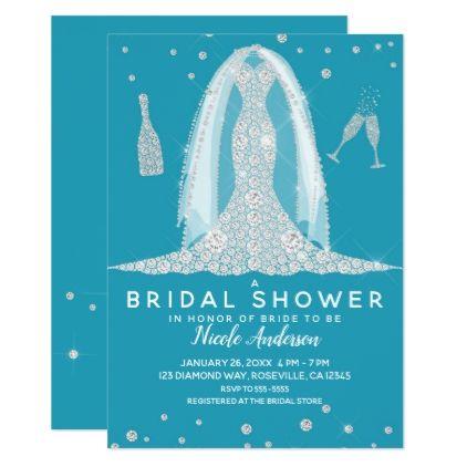 Glam Diamond Wedding Dress Teal Bridal Shower Card - wedding invitations diy cyo special idea personalize card