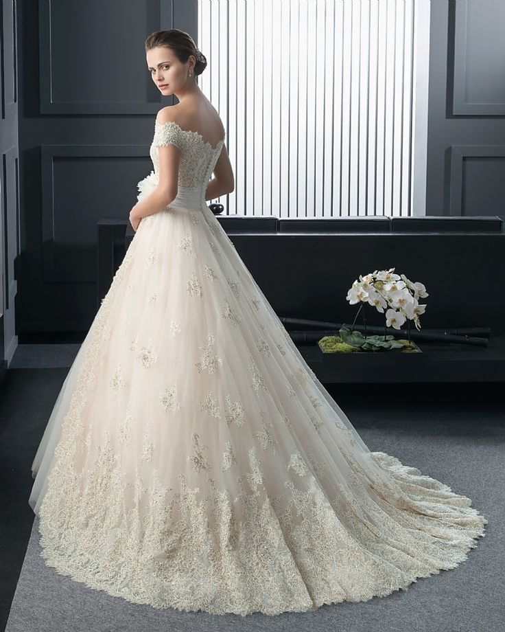 Rosa Clara Glamorous Tulle Off The Shoulder Neckline Natural Waistline Ball Gown Wedding Dress With Beaded Lace Appliques Handmade Flowers
