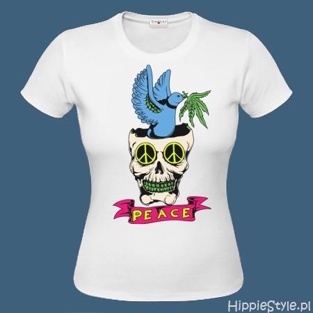 koszulka T-shirt biała PEACE CZASZKA