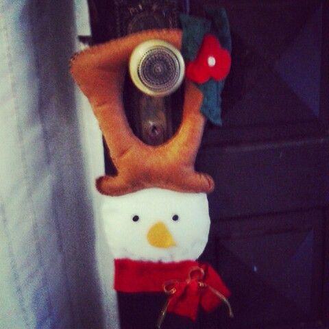 Enfeite maçaneta boneco neve