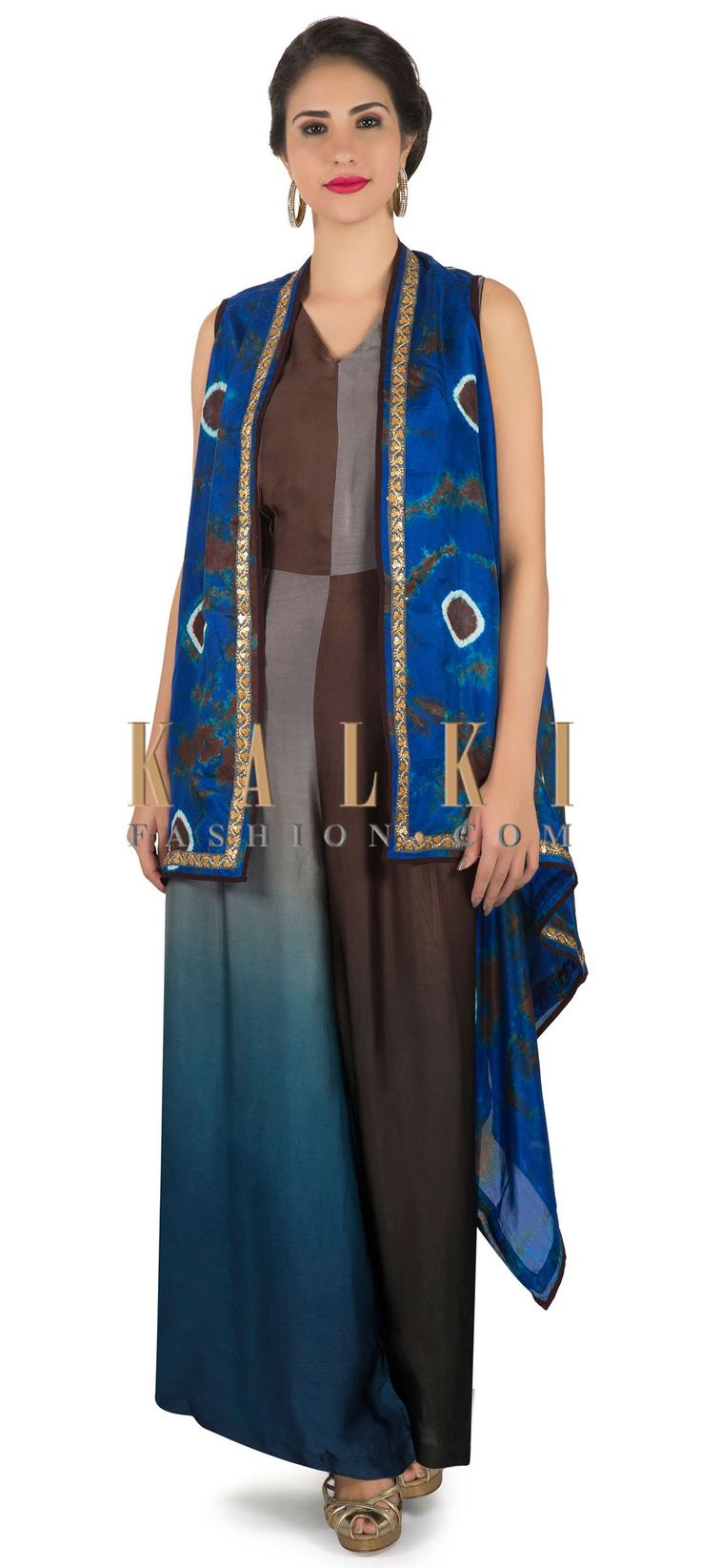 Jumpsuit in brown and blue matched with printed long jacket only on Kalki