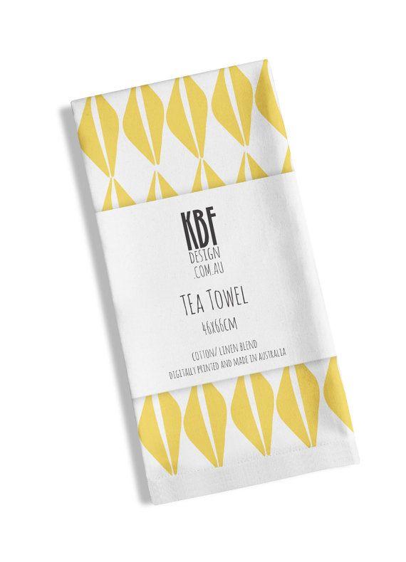 Tea Towel with yellow diamond pattern by PeachyArtandTreasure