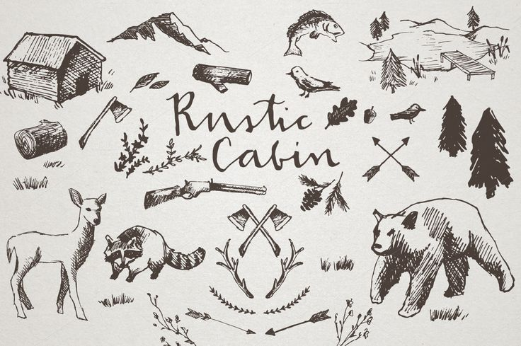 37 rustic cabin crosshatch sketched illustrations! Wilderness and cabin artwork including racoons, bears, pine trees, cabin, lake, mountains and more. THIS DOWNLOAD INCLUDES: • 37 vector