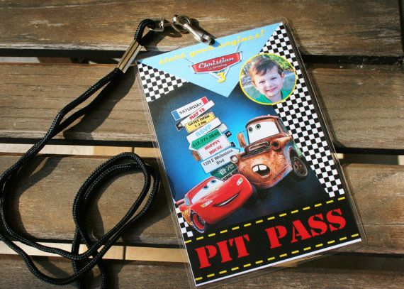 Custom Personalized Pixar Cars Birthday Party Invitation / Pit Pass by bellanekka, $14.00