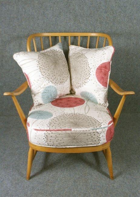 A High Back 1950 S Ercol Chair In Harlequin Gardenia Fabric