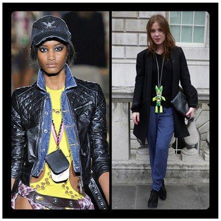 #JOANNEHYNES LEATHER FLURO BUNNY NECKPIECE ON VOGUE ITALIA WORN BY ANGELA SCANLON AT LONDON FASHION WEEK  SEE MORE AT:http://www.joannehynes.com/shop/leather-and-crystal-pendants/