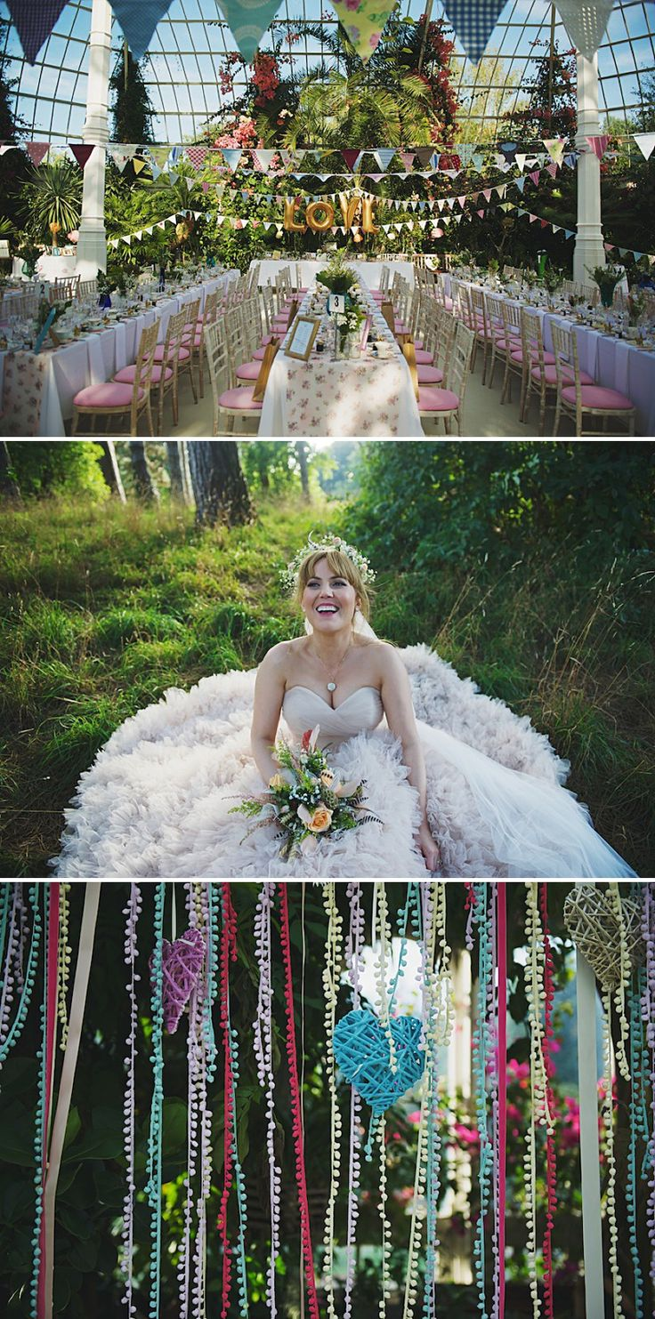 A Bright contemporary wedding with lots of DIY and pastel pink wedding gown. Photography by Nicola Thompson Photography at Sefton Park Palm ...