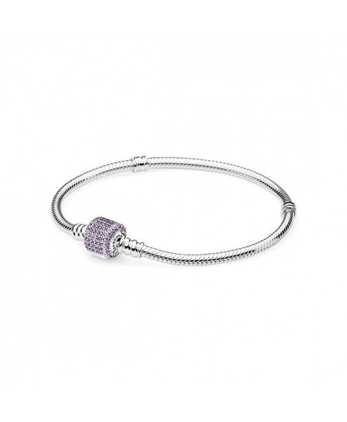 Pandora Signature Clasp Bracelet, Fancy Purple Cz 590723CFP On Sale
