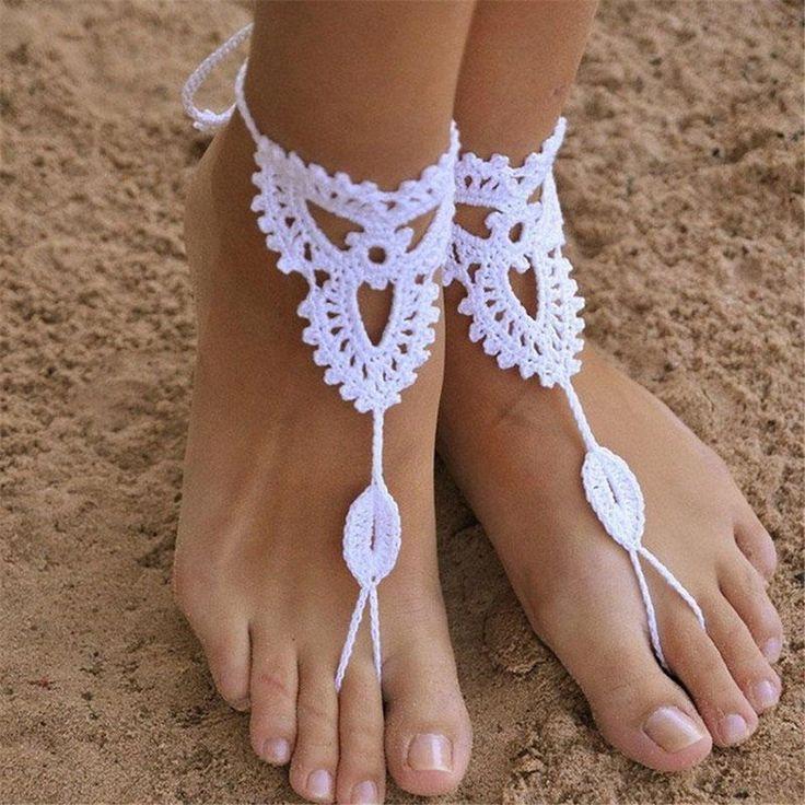 TQWY Coppia di piedi nudi (2pc) decorato a mano all'uncinetto, con motivo a Sandali da donna, elegante per abiti da sposa Cavigliera con maglia da spiaggia, a pedale 1#white: Amazon.it: Casa e cucina
