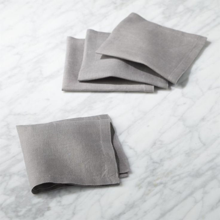 Free Shipping. Shop Bolt Grey Linen Cocktail Napkins Set of 4. 100% grey linen cocktail napkin set keeps your manners on point. Finely finished with a stitched edge. Perfect for adding extra polish to parties.