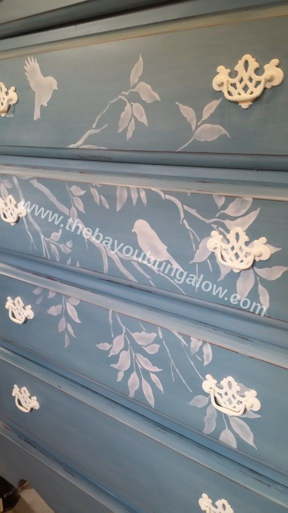 Miss Mustard Seed french enamal with bonding agent and white wax, Cutting Edge Stencils… Love the branches
