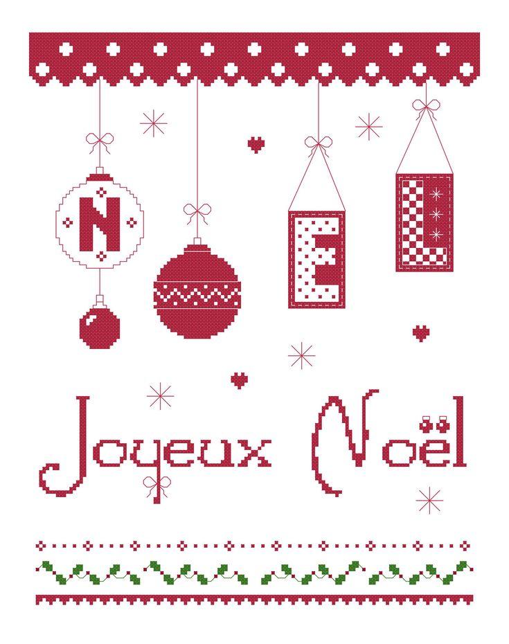 Grille gratuite point de croix Joyeux Noël 2014