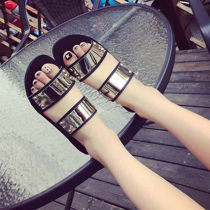 European designer women summer shoes gold silver beach sandals bling flip flops mixed color sandalias mujer shoes women sandals