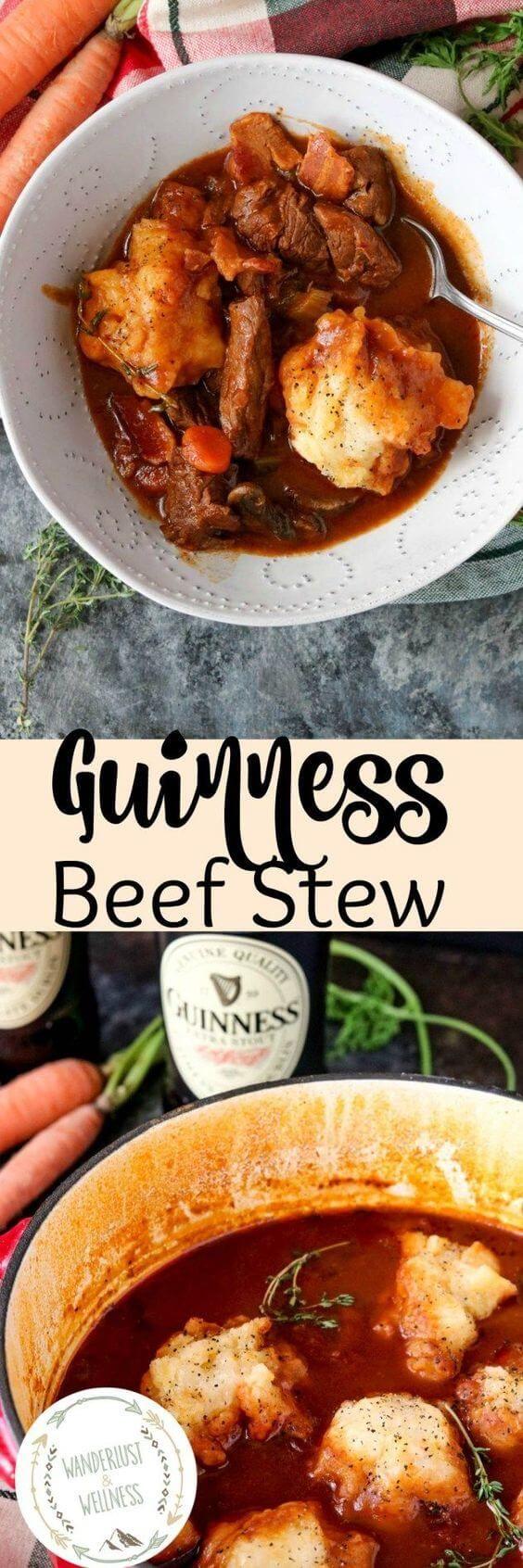 Guinness Beef Stew with Gluten-Free Garlic Cheddar Dumplings Recipe