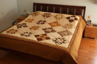 Szilvi foltvarró blogja: Barna csillagos patchwork ágytakaró