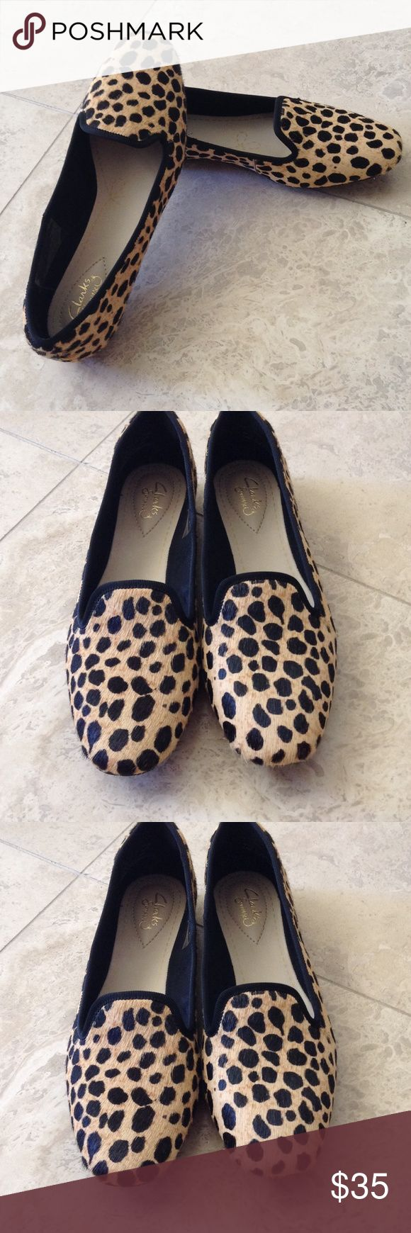 BRAND NEW LEOPARD PRINT CLARK SHOES Very nicely made comfortable leopard print shoes Clarks Shoes Flats & Loafers