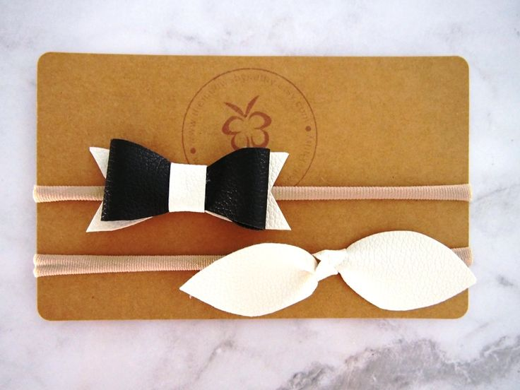 Black and white faux leather bow thin nylon headbands - newborn infant toddler - costume party, photoshoots - birthday party by ThemBowsbyKathy on Etsy