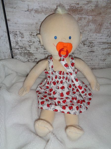 Puppenkleidung - Kleid Schnullerkette Baby Born Krümel Puppen 43  - ein Designerstück von Elmisemas-Zaubernadel bei DaWanda
