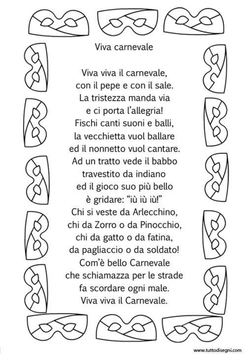 Filastrocca Viva viva il Carnevale - TuttoDisegni.com