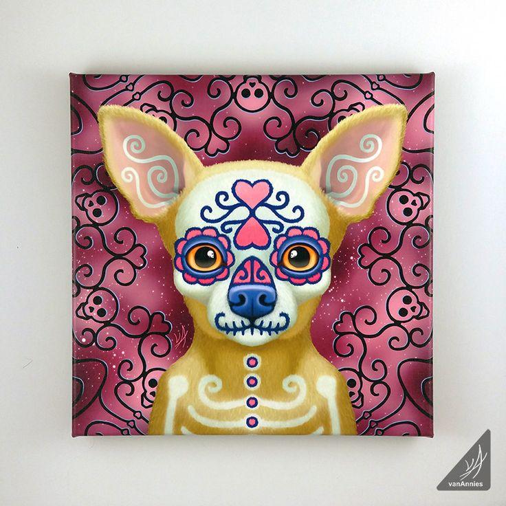 Ay Chihuahua Dia de los Muertos Dog Wrapped Canvas Print