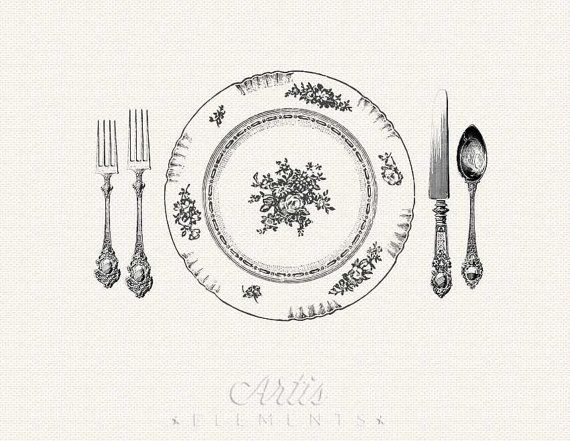 Vintage Printable Place Setting Digital Clipart For