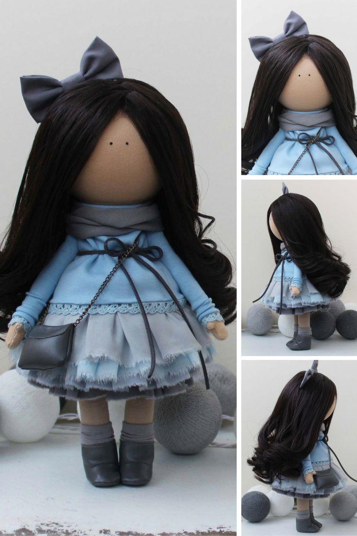 Fabric doll READY doll Tilda doll Textile doll Handmade doll Blue doll Rag doll Art doll Baby doll Unique doll Soft doll by Margarita