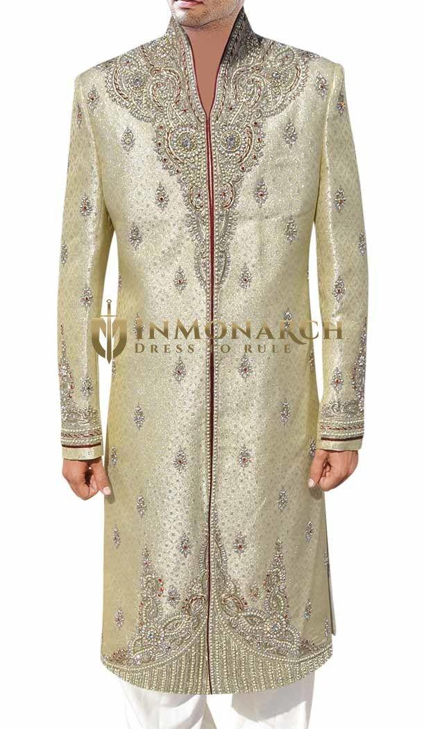Light Goldenrod and Silver Classic #Sherwani #Inmonarch #Wedding #Ethnic Wear #Inmonarch Wedding Wear #Indian Wedding Wear #Wedding Collection #Inmonarch Sherwani