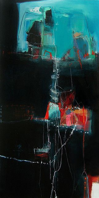 """Anne-Laure Djaballah: """"Step""""  24 x 12"""", oil, acrylic, mixed media on canvas"""