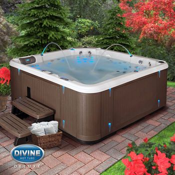 What has 75 jets, mood lighting and two full body lounges? This deluxe hot tub. We should also mention it can fit you and up to five of your closest (or most persistent) friends.