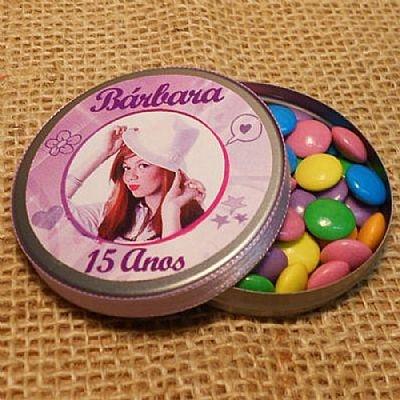 Lembrancinha de 15 Anos Latinha Personalizada com Confetes $3.90