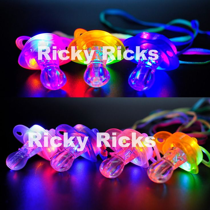 Light Up Pacifier LED Rave Party Glow Glowing Whistle Flashing Lanyard Blinking in Home & Garden, Greeting Cards & Party Supply, Party Supplies | eBay