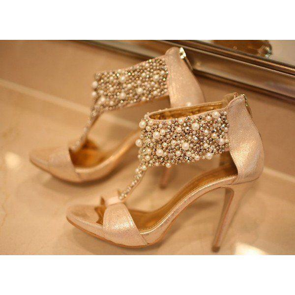 Women's Golden Open Toe T Strap Jeweled Platform Stiletto Heel Bridal Sandals image 3