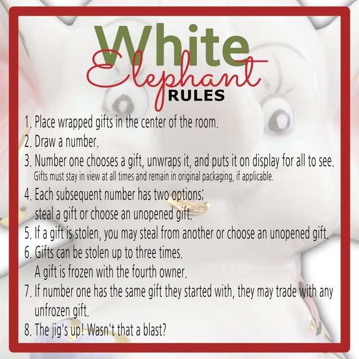 The White Elephant Gift Exchange Game has many variations. Keep everyone smiling and on the same page with this free White Elephant Rules printable!