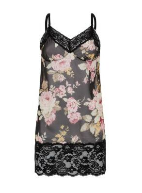 - Black and pink floral chemise- Wide lace trim- Mini length- Sem sheer finish. @New Look