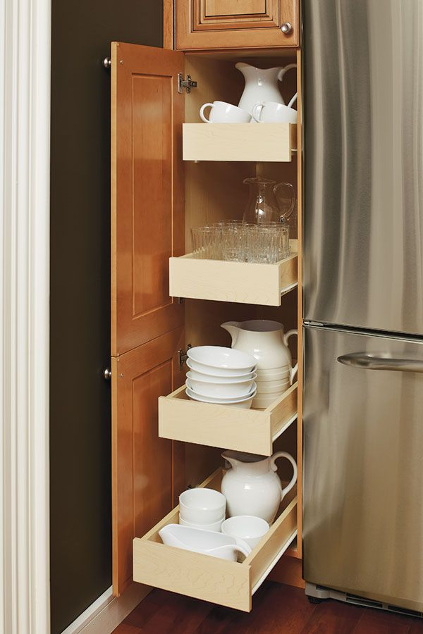 Organization And Accessibility Are Key In The Kitchen And The Tall Cabinet With Sliding Shelves Is A Sliding Shelves Thomasville Cabinets Thomasville Cabinetry