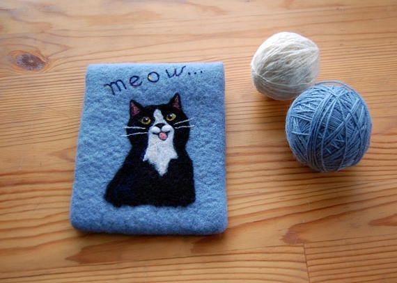 Felted Blue Wool Phone Case Cat phone case Felted cat phone