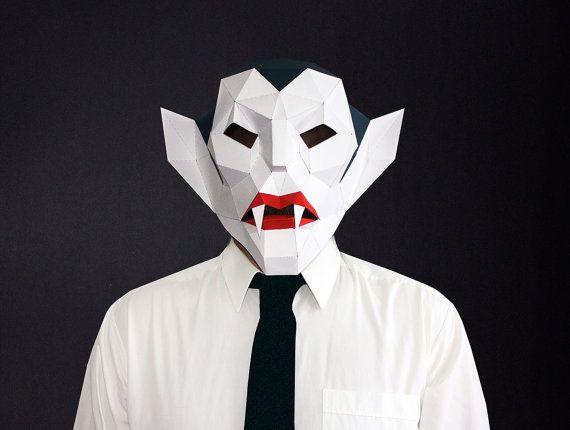 Make your own Vampire Mask, Vampire Head, Dracula,Instant Pdf download, DIY Halloween Paper Mask, Printable Mask, Polygon Masks