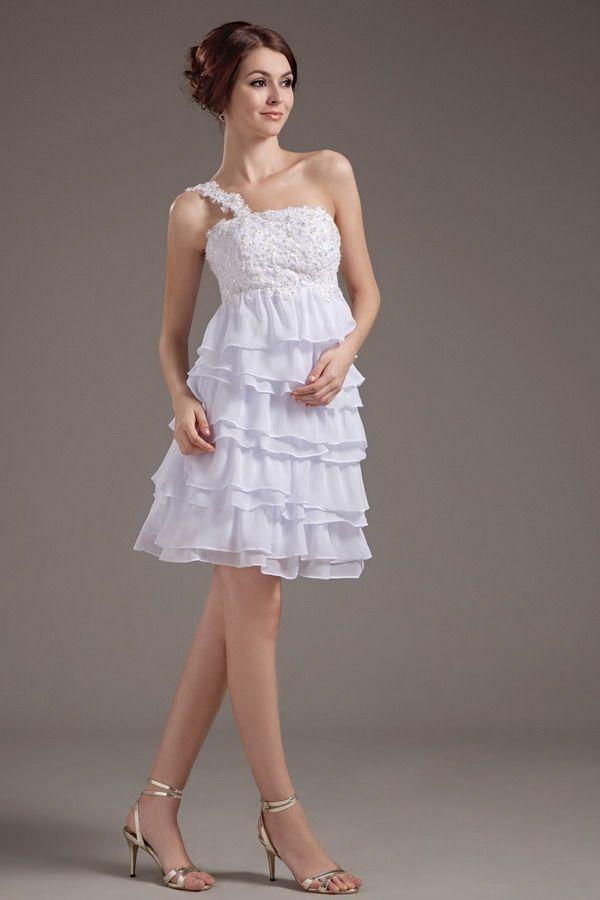 Chiffon White Modern Wedding Dress - Order Link: http://www.thebridalgowns.com/chiffon-white-modern-wedding-dress-tbg1225 - SILHOUETTE: A-Line; SLEEVE: Sleeveless; LENGTH: Tea Length; FABRIC: Chiffon; EMBELLISHMENTS: Beading,Applique,Layered - Price: 170USD