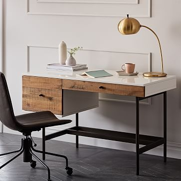 Reclaimed Wood   Lacquer Desk #westelm  – Bedroom ideas